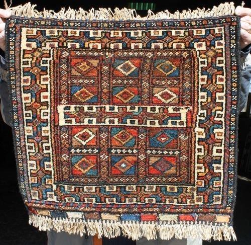 "111: 1'9""x2' antique Kurdish bag face Oriental rug"