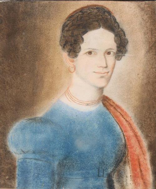 "116A: 11 3/4"" x 9 1/2"" ca 1820 pastel portrait of a wom"
