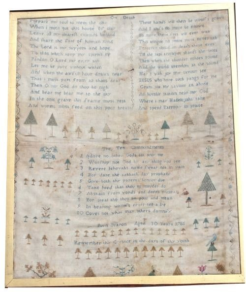 """117: lg 18 1/2"""" x 15 1/4"""" dated 1785 Worcester County,"""