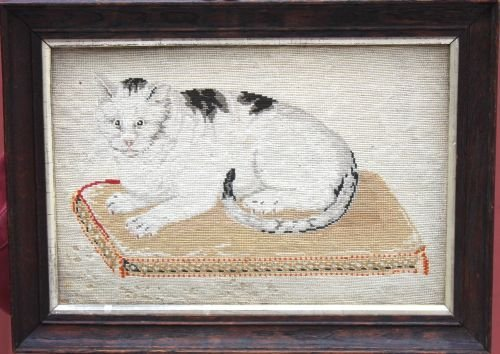 118: wonderful mid 19thC needlepoint featuring a cat on