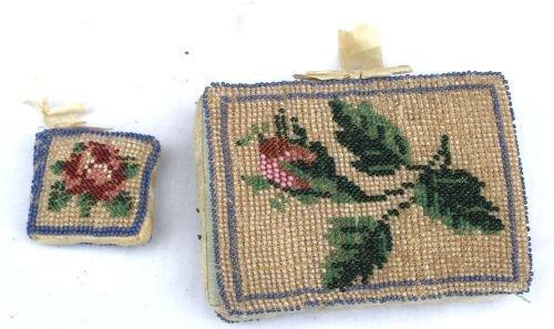 119A: Rare 19thC micro beadwork sewing items incl 2 min