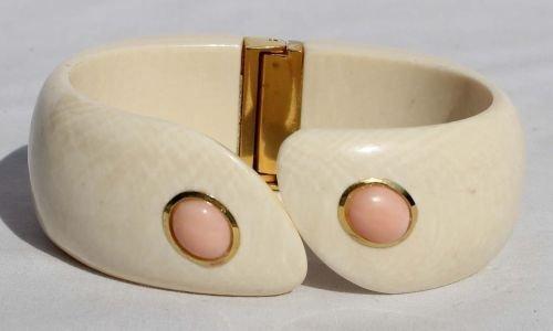120A: attrib Webb gold mounted ivory bangle bracelet w