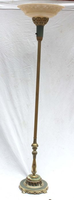Very Pretty Ca 1930's Torchere Floor Lamp W Grape