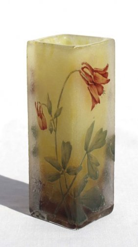 Sgnd Daum Nancy French Cameo Glass Acid Etched & E
