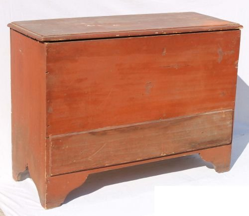 220: ca 1770 New England 1 drawer blanket chest in old
