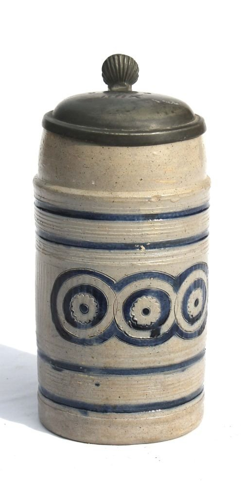 232: Early Westerwald stein inscribed XIIII in the lid