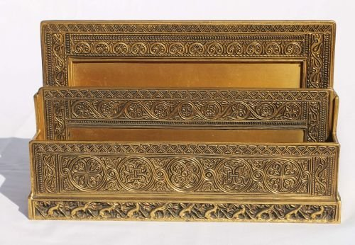 "237: sgnd Tiffany bronze ""Venetian"" pattern paper rack"