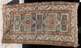 7 67x310 antique Kazak Oriental area rug
