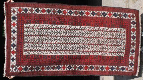 "17: 5'10""x3' semi-antique Balouch Oriental area rug"