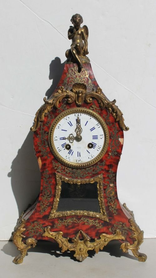 82: 19thC French boulle clock w bronze ormolu, porcelai