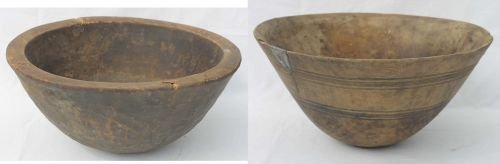 88: 2 large probably Native American wooden bowls w car