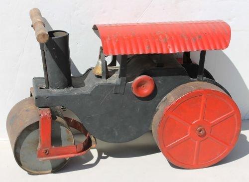 """107: antique pressed steel ride-em steam roller - 20"""" l"""