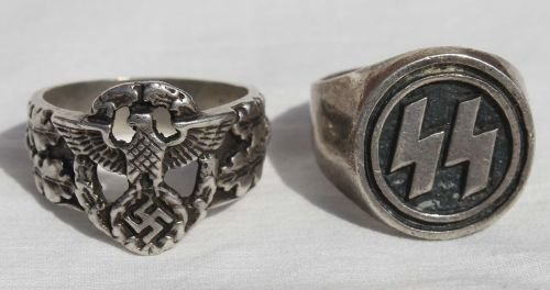 "243: lot of 2 sterling silver Nazi rings - 1 ""SS"" & the"