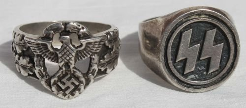 "243: lot of 2 sterling silver Nazi rings - 1 ""SS"" & the - 4"
