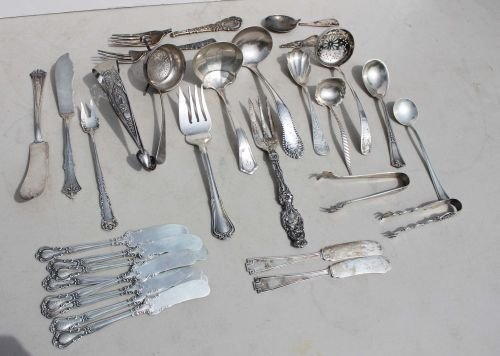 321: lot of 27 sterling silver assorted flatware & serv