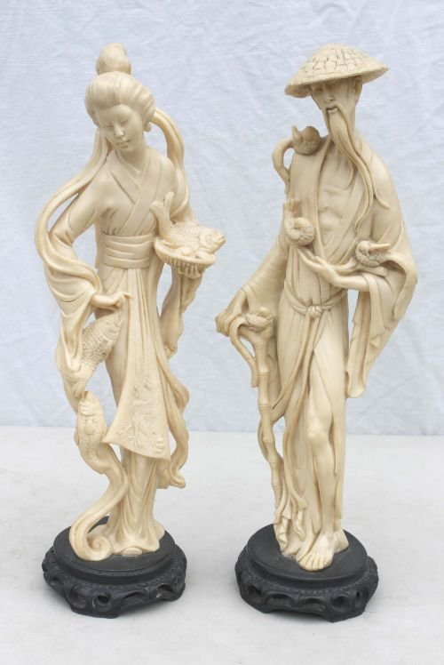 """410: pr of 19 1/2"""" tall carved ivorine Chinese figures"""