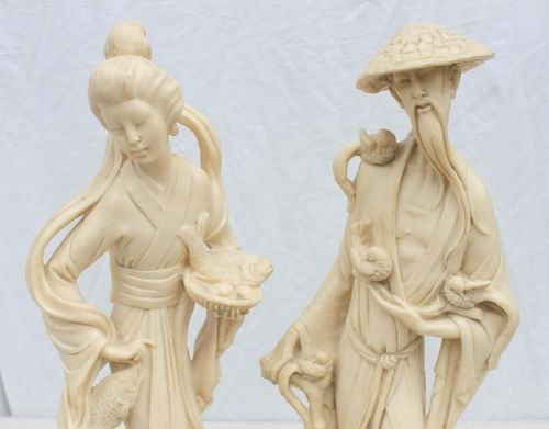 """410: pr of 19 1/2"""" tall carved ivorine Chinese figures - 2"""