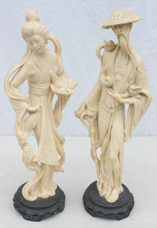 """410: pr of 19 1/2"""" tall carved ivorine Chinese figures - 3"""