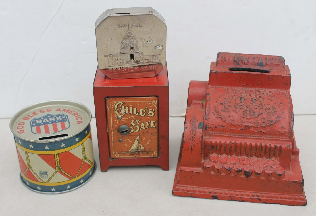 "3: lot of 4 antique still banks incl hard rubber ""A Pen"