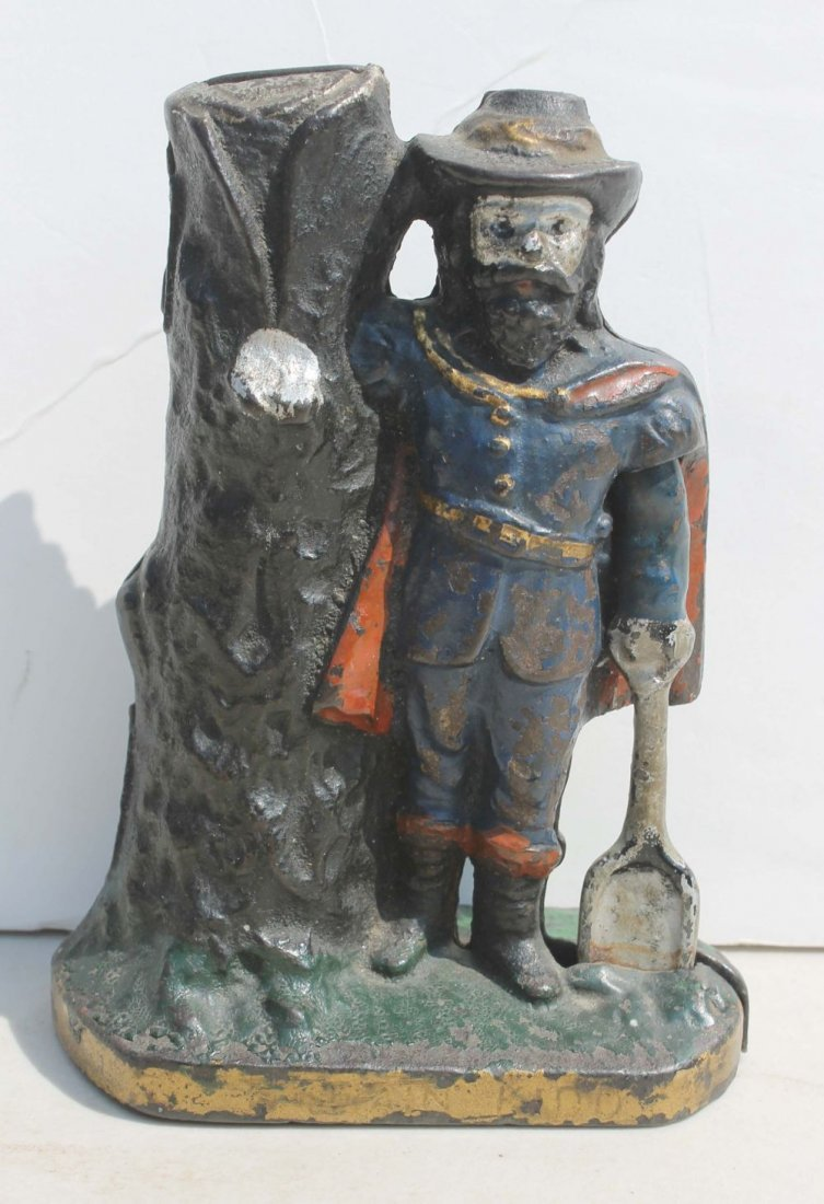 """4: antique cast iron """"Captain Kidd"""" still bank by Ives"""