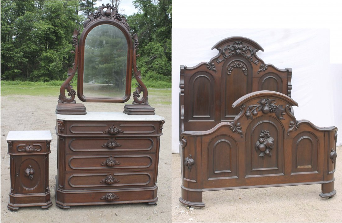 5: fine Victorian carved walnut 3 pc marble top bedroom