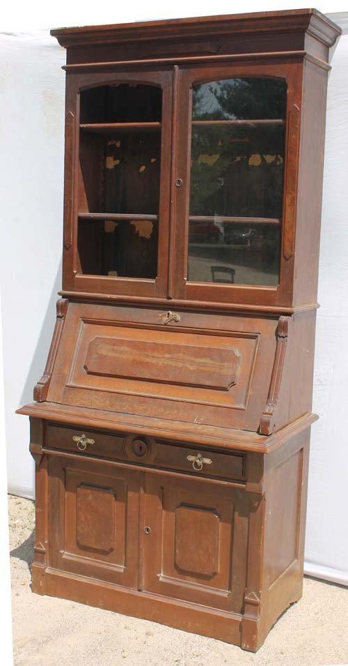 5A: Victorian carved walnut slant lid secretary w bookc