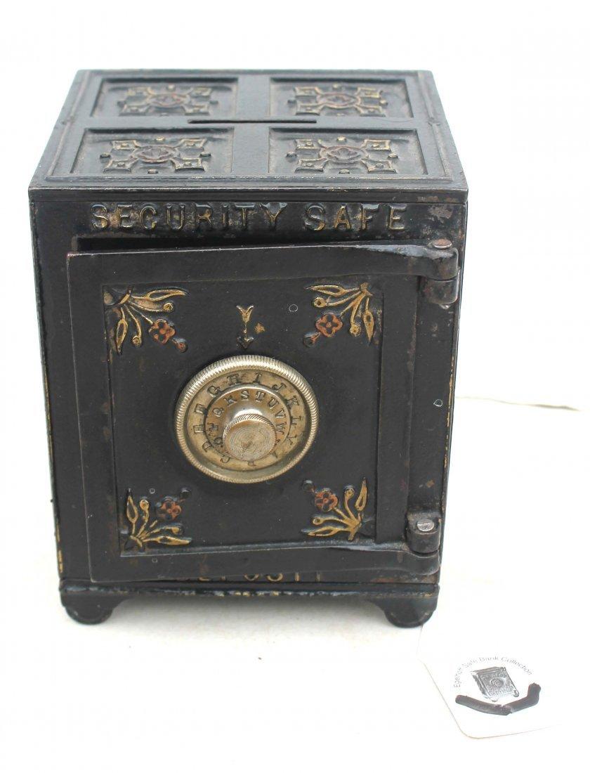 "6: antique cast iron still bank ""Security Safe Deposit"""