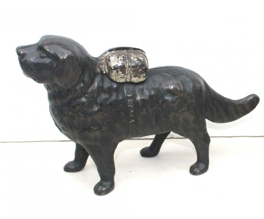 """7: antique cast iron St Bernard still bank """"I Hear a Ca"""