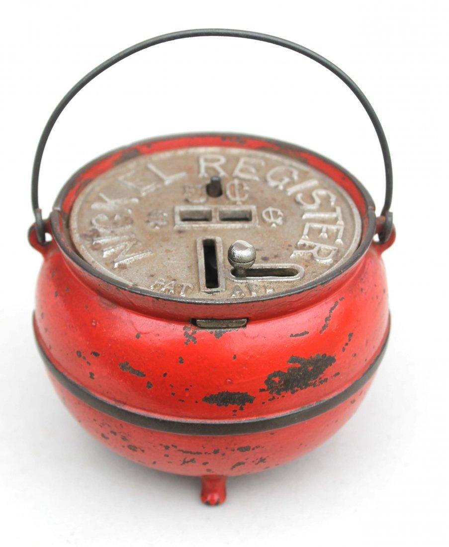"""9: Antique cast iron """"Kettle"""" nickel register still ban"""