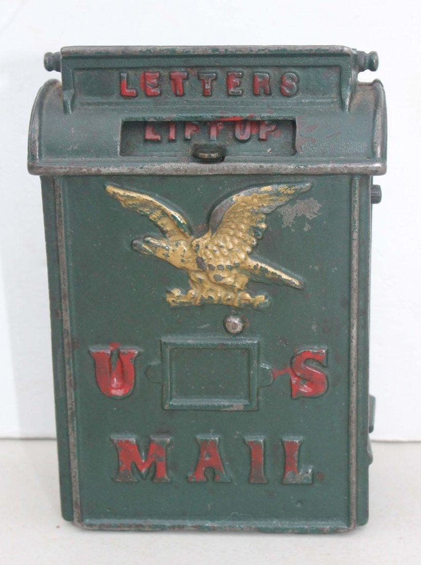 """9A: Antique cast iron """"US Mailbox"""" still bank pat'd 187"""