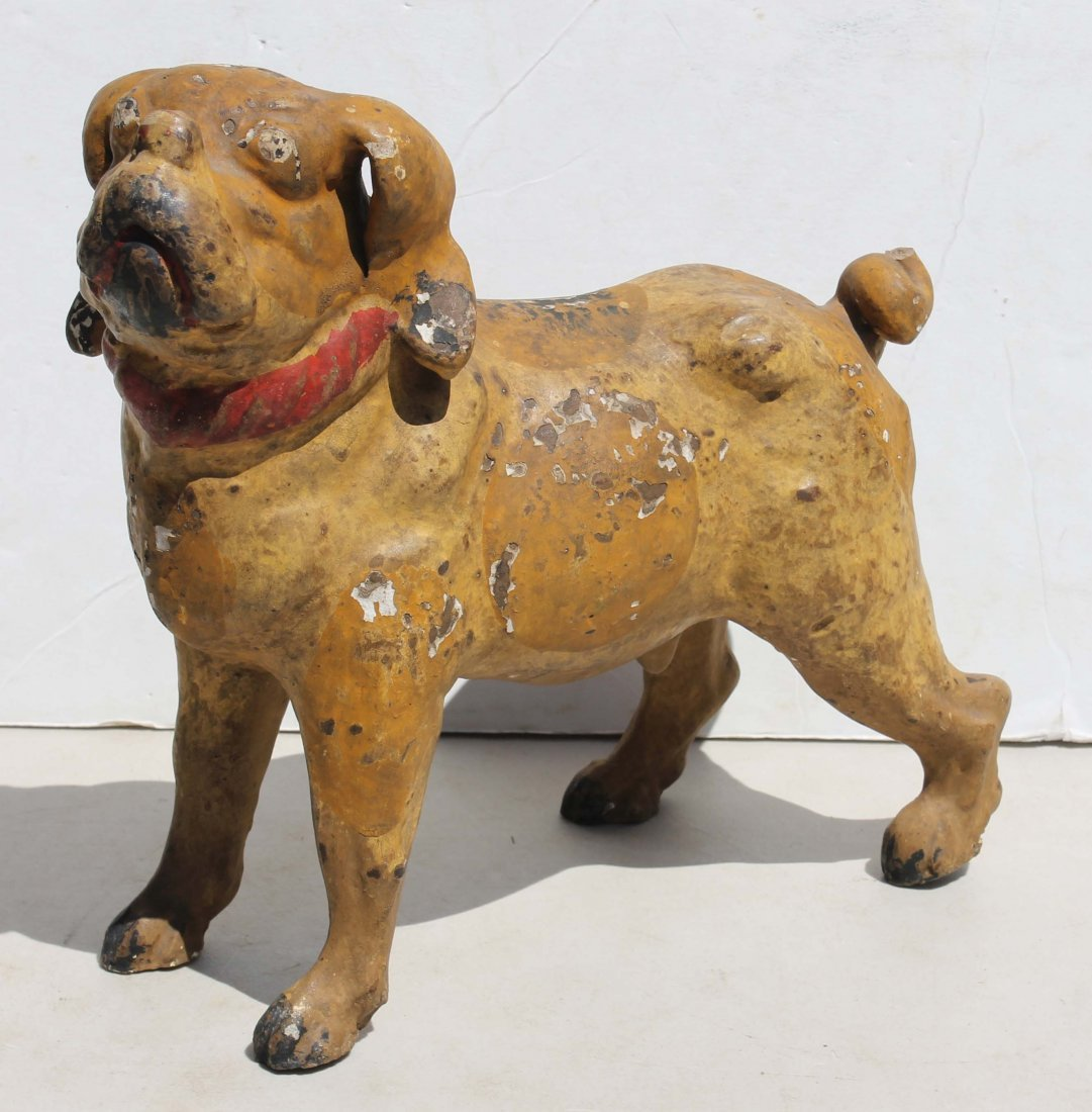 """13: large antique very rare chalk ware dog bank - 12"""" l"""