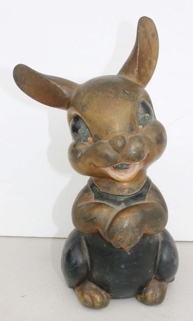 14: 19thC chalk ware hollow body dog in orig paint toge