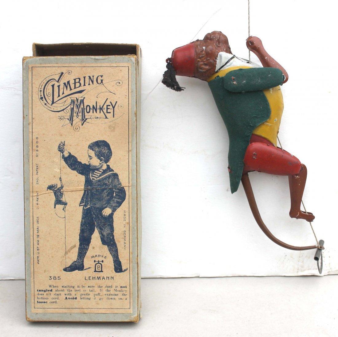 16: antique Lehmann climbing monkey in rare orig box -