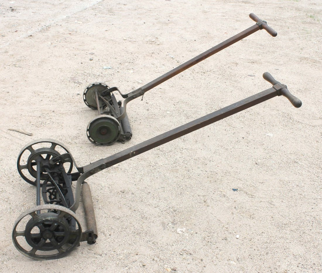 380B: 2 old fashioned antique push lawn mowers by Blair