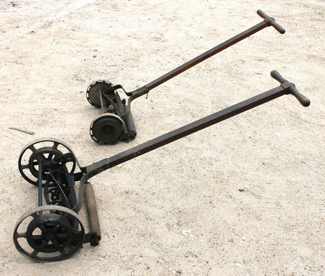 380B: 2 old fashioned antique push lawn mowers by Blair - 4