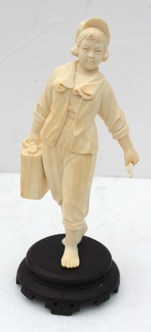 422: Chinese Cultural Revolution carved ivory figure of