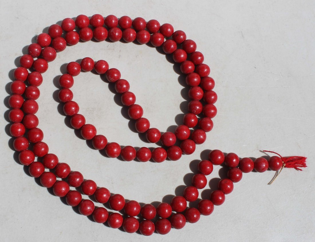 """447: Chinese red coral necklace - 56"""" long"""