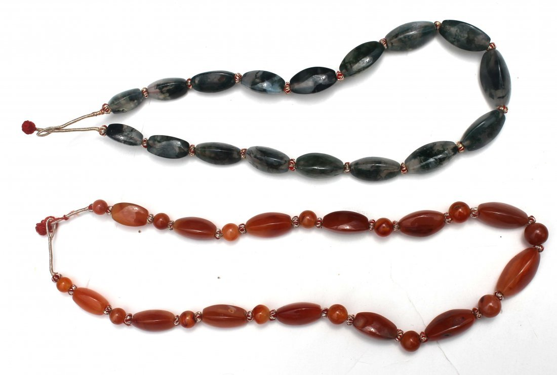 5: 2 Chinese jade & carnelian necklaces