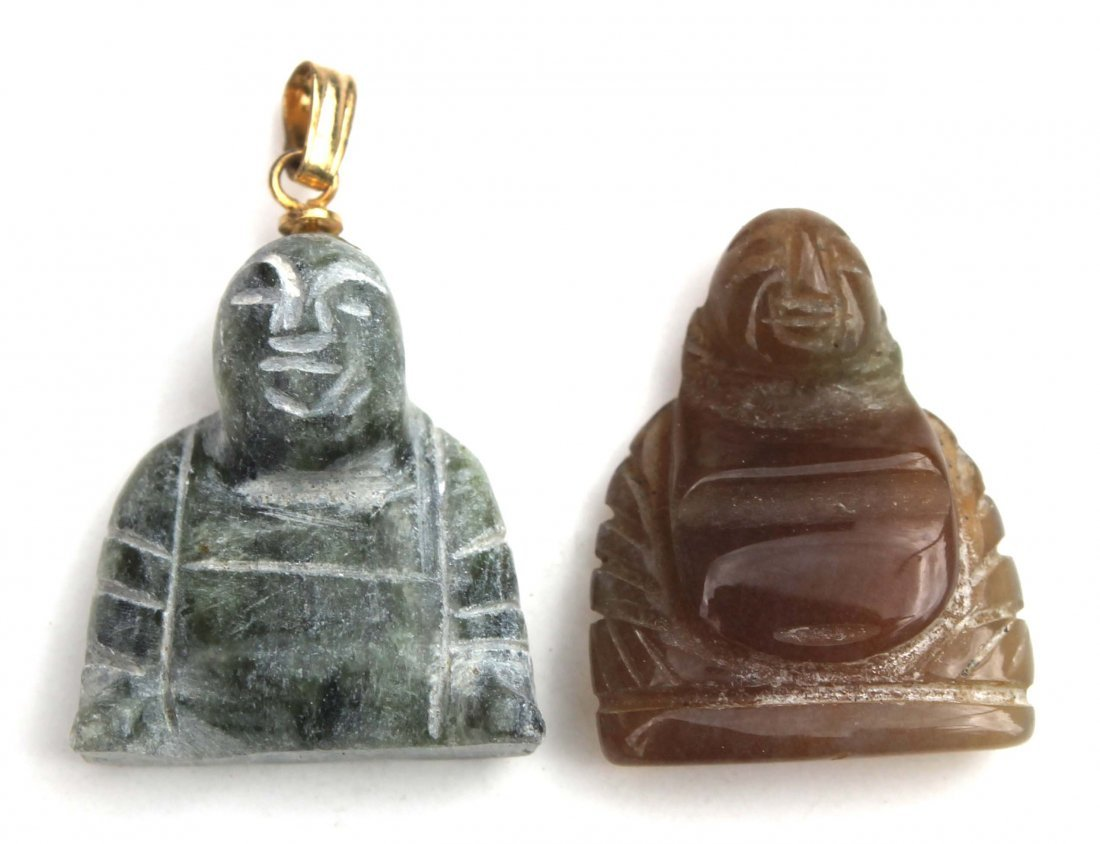 19: 2 Chinese jade Buddhas - 1 w vermillion clasp - app