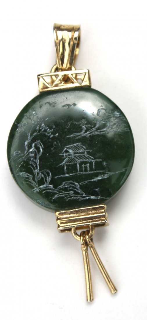 22: Chinese carved jade pendant w etched dec & vermilli