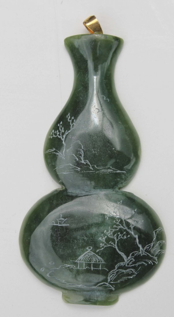 23: Chinese carved jade vase form pendant w etched scen