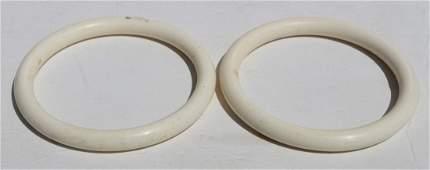 189: pr of Chinese carved ivory bangle bracelets - appr