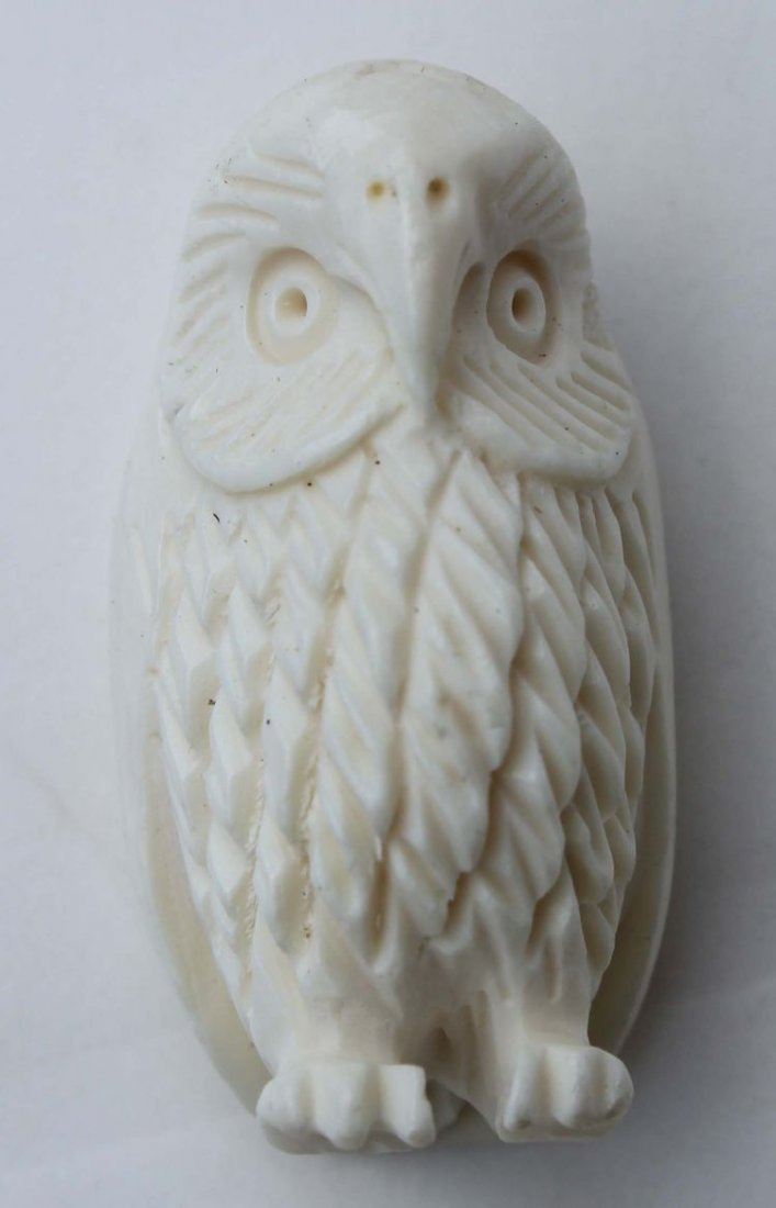 """4: Chinese carved ivory owl - 1 1/2"""" tall"""