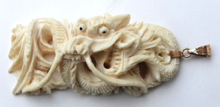 4A: Chinese carved ivory dragon pendant w 14k clasp - 2