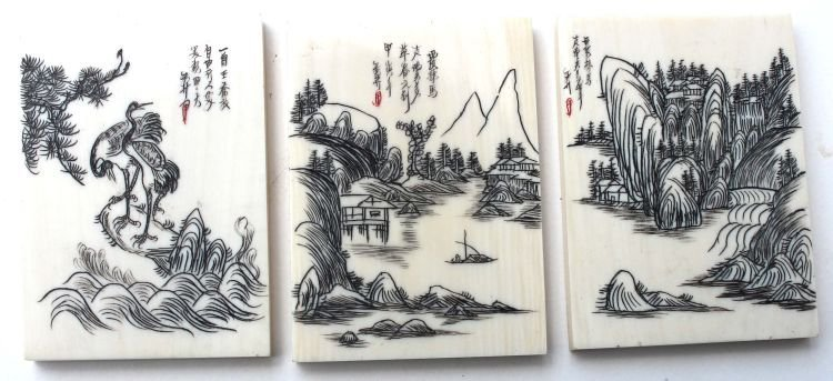 6: 3 Chinese scrimshawed ivory plaques for jewelry maki