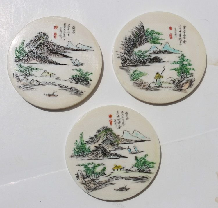 7: 3 Chinese scrimshawed ivory plaques for jewelry maki