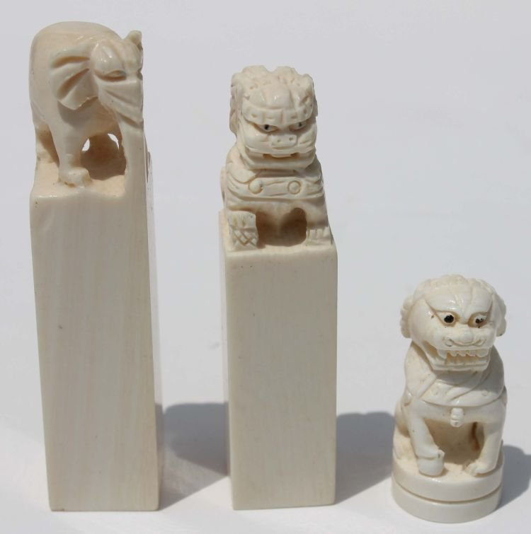 """12: 3 Chinese carved ivory chops - 1 1/4"""" - 2 1/4"""" tall"""