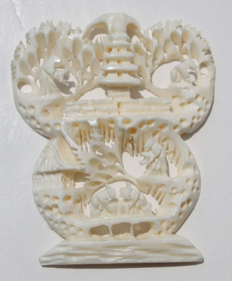 """13: Chinese carved ivory scenic pendant - 2"""" wide"""