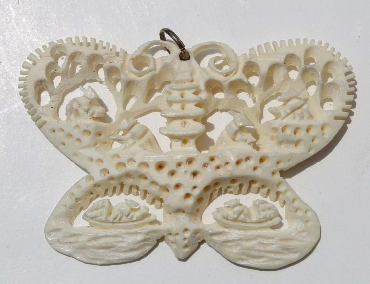 """14: Chinese carved ivory butterfly pendant - 1 3/4"""" tal"""