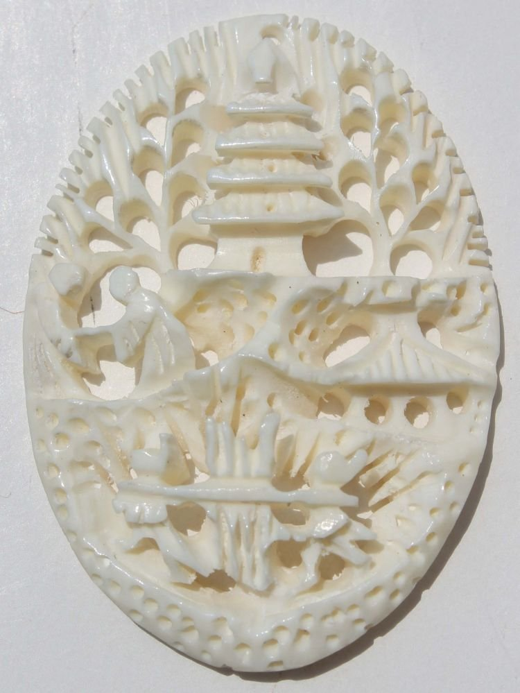 """15: Chinese carved ivory scenic pendant - 1 3/4"""" tall"""